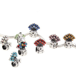 Mixed big hole rhinestone beads online shopping - 925 Silver Mix Pandora Peacock Style European Big Hole Loose Beads Crystal Rhinestone for Snake safety chain Fit DIY Charm Bracelet Jewelry