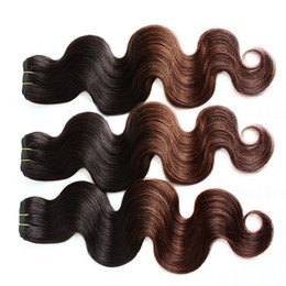 """two tone dip dyed hair 2019 - 3pcs lot 8A Ombre Hair 10""""-30"""" Brazilian Human Hair Extensions Ombre Dip Dye Two Tone T#1B #4 Hair Weave Weft"""