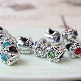 $enCountryForm.capitalKeyWord Canada - Thick Plating Crystal Flower Charm Bead Fashion Women Jewelry European Style For Pandora Bracelet Necklace Bangle