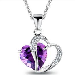 $enCountryForm.capitalKeyWord UK - Fashion Romantic Multicolor Crystal Love Heart Pendants Cheap Necklaces For Women Jewelry Wholesale