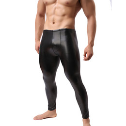 exotic leather wholesale Canada - Wholesale-Brand Men's Sexy Stretch Leggings Pants Men's Sexy Leather Trousers Tights Bodybuilding Exotic Pants PVC Long Trousers V48