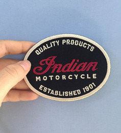 Detalles Chaqueta Baratos-Indian Motorcycle Quality Leather 1901 Motocicleta Oval Biker Club MC chaleco chaqueta frontal parche bordado detallado