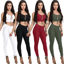 db6a71a460 Women Two-Piece Suit Fashion Ladies Hollow Out Sexy PlaySuit Jumpsuit Set Lace  up Tight Crop Tops + Bodycon Long Pants Clubwear