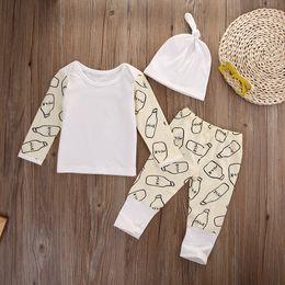 93d2e5ebc363 Xmas Newborn Baby Clothing Set Girl Boys Boutique Clothing Set Kids Toddler  Outfit Milk Bottle Christmas Pajamas Long Top+Pants+Hat