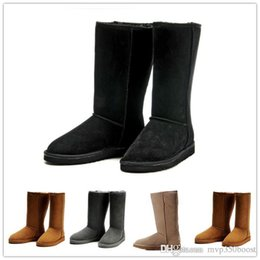 Woman genuine leather high heels boots online shopping - 2017 New High Quality Women s Australia Classic kneel Boots Ankle boots Black Grey chestnut navy Women boots US