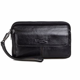 China Wholesale- High Quality Genuine Leather Cowhide Men Hand Bags Casual Business Clutch Bag Mobile Phone Case Cigarette Wallet Purse Pouch New supplier business card holder cell phone case suppliers