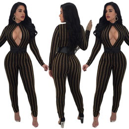 Barato Mangas Compridas Verticais-Autumn Hollow Out 2017 Sexy Bodycon Jumpsuit Mulheres Shiny Gold Vertical Striped Skinny Rompers Bodysuit casual de manga comprida