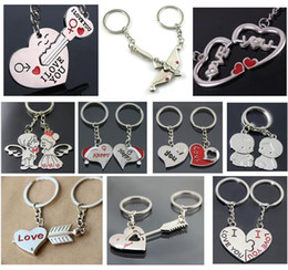 arrow locks Canada - New Couple Key Rings key chain Promotion Advertisement Wedding Gift Happy Christmas Cap LOVE Baby Angel Princess Chobe Arrow through Heart