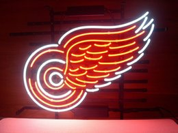 Wholesale RED WINGS Neon Sign Real Glass Tube Bar Pub Store Business Advertising Home Decoration Art Gift Display Metal Frame Size X20