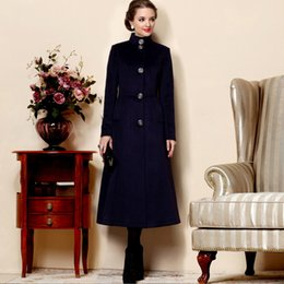Trench De Femme Décontracté Pas Cher-Femmes Tranchée Manteau 2017-2018 Hiver Femme Marine Bleu Manteaux Slim Maxi Chaud Long Veste Trench-Coat Casual Femme Vêtements froids