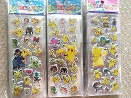 Halloween Uv Canada - Free DHL Fashion Cartoon Poke Pikachu 3D Stickers UV Wallpaper Nursery Children Kids Room Bedroom Classial Toy 6.75*16.9cm L1