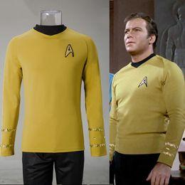 Star Trek Movie Costumes Canada - Cosplay Star Trek TOS The Original Series Kirk Shirt Uniform Costume Halloween Yellow Costume