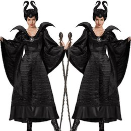 Sleeping curse costumes Adlut Maleficent Cosplay Halloween Costumes for Women Female Witch Cosplay Black Christening Gown Costume