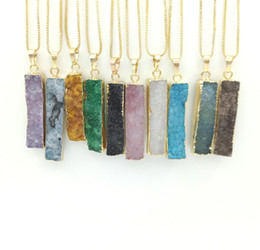 Chinese  JLN Geode Druzy Long Bar Long Rectangle Agate Pendant Genuine Gemstone Natural Agate Pendant With Brass Chain Necklace manufacturers