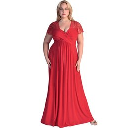 Barato Vestido Preto Das Mulheres Mais O Tamanho-Womens Summer Elegant Red Black Lace Yoke Ruched Twist High Waist Plus Size Gown Party Style Dress
