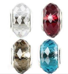10 unids Boutique de plata plateado clásico 925 ale DIY perlas de cristal accesorios de la joyería gran agujero encantos de cristal adapta a la pulsera / collar ZHZP002 en venta