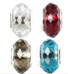 10pcs Boutique en argent plaqué classique 925 ale cristal bricolage Perles Accessoires de bijoux gros trou verre Charms Convient Bracelet / collier ZHZP002 en Solde
