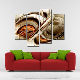 $enCountryForm.capitalKeyWord UK - 4 Pieces Wall art Painting Set Flowing Lines Modern the picture Print On Canvas Abstract Picture for Home Living Bedroom Hotel Decoration