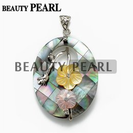 $enCountryForm.capitalKeyWord NZ - Silver Plated Oval Black Shell Pendant with Bead Necklace Chain Yellow & Pink Flowers Unique Jewelry Handmade