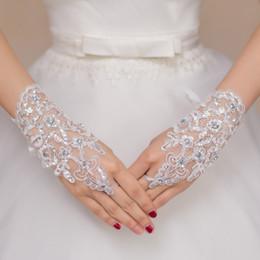 Großhandel Freies Verschiffen 2016 neue heiße Verkaufs-Art- und Weiseweiß, Elfenbein-Perlen-Spitze-Hochzeits-Brauthandschuhe, Ring-Armband-Hochzeits-Zusätze