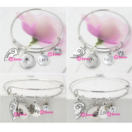 New Fashion Interchangeable Jewelry Wire Bangle Best Friends 18mm Snap BanglesBracelets For Gift Birthday