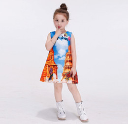 Spot Brand Canada - 2016 Children Girls Dresses Sleeveless Italy Tower of Pisa Famous Spot Princess High Quality Jacquard Child Dress Clothing K7519