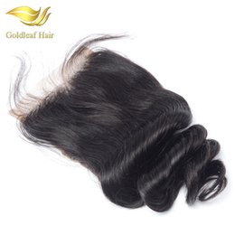 Top knoT hair accessories online shopping - Peruvian Lace Closure Bleached Knots Brazilian Malaysian Loose Wave Human Hair Closure Free Middle Part Top Closure