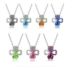 crystal lucky clover pendant chain necklace Canada - Fashion Crystal Necklace Lucky Clover Pendant Women 's Alloy Anti - allergic jewelry YP106 Arts and Crafts pendant with chain