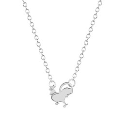 $enCountryForm.capitalKeyWord Canada - 10pcs lot Gold Silver Cock Pendant Necklace Funny Walking Chicken Animal Necklaces Accessories for Women Christmas Gift My Orders