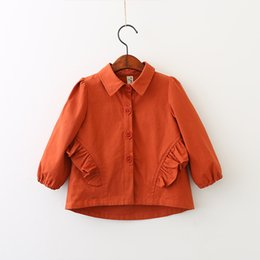 Barato Blusa Vintage Babados-Everweekend Girls Ruffles Asymmetrical Jacket Outwear Autumn Spring Lovely Baby Clothing Vintage Korea Cute Blouse