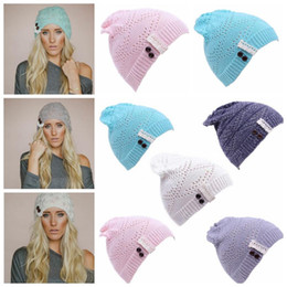 22747b96b9b Women Knit Beanie Cap Ski Hip-hop Lace Hat Winter Warm Baggy Wool Crochet  Hat Crochet Beanie Lace brim Button Cap KKA2896