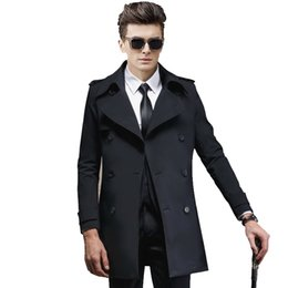 Barato Casaco Longo Fino Dos Homens-Atacado - 2017 Outono Trench Coat Homens Double Breasted Full Solid Thin Loose Windbreaker Britânico Long Overcoat Formal Mens Real Precipitado
