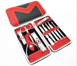 Wholesale 10pcs sets Portable Manicure Set Pedicure Scissor Tweezer Knife Ear Pick Utility Nail Clipper Kit Stainless Steel Nail Care Tool with bag