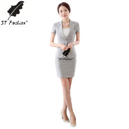 Discount formal business skirts - Wholesale-Womens Business Suits Formal Office Uniform style Suits New 2016 Summer Autumn Women Work Wear Female Blazer S