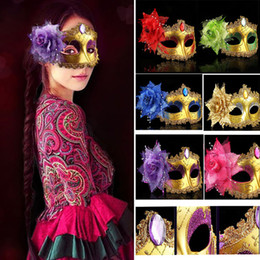 Venetian chain online shopping - Masquerade Masks Venetian Face Mask Fashion Rose Bead Chain Crystal Party Decoration Halloween Christmas Gift HH7
