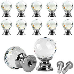 Pull Handles Crystals Australia - 10Pcs Beauty Crystal Glass Door Drawer Cabinet Wardrobe Pull Handle Knobs E00043 BAR