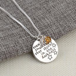 angel gifts 2019 - Letter Even The Smallest Star Shines in the Darknes Pendant Inspirational Necklace for Women fashion jewelry Christmas g