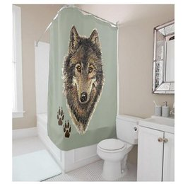 Customs 36 48 60 66 72 80 (W) X 72 (H) Inch Shower Curtain Wolf Head With  Feet Print Waterproof Polyester Fabric Shower Curtain
