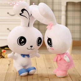 happy bear toys Canada - new arrival plush toy cute tie bowknot couple sweet rabbit happy lover bunny stuffed doll birthday gift