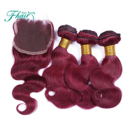 $enCountryForm.capitalKeyWord Canada - Hot Products 9A Indian Wine Red Hair With Closure 4Pcs Lot #99J Wine Red Body Wave Lace Closure 4x4 With Hair Weave Bundles