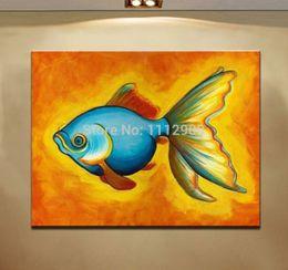 $enCountryForm.capitalKeyWord Canada - 100% Handmade Abstract Animal oil painting Modern canvas Art painting on Canvas Decorative Colourful gold fish