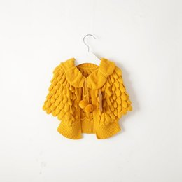 Wholesale yellow crochet cardigan resale online - Retail Kids Girls Knitted Cardigan Sweaters Cardigans Carseat Crochet Candy Color Capes Poncho Jackets for Spring Autumn