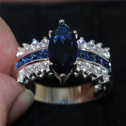 Victoria Wieck Marquise Cut Jewellery Blue Sapphire Simulated Diamond Cubic Zirconia 925 Sterling Silver Engagement Wedding Rings Sz 5-10