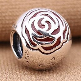$enCountryForm.capitalKeyWord Australia - New 100% 925 Sterling Silver BELLE ENCHANTED ROSE Charm bead S925 Stamped Fits pandora Snake Chain Bracelet Fashion DIY Jewelry