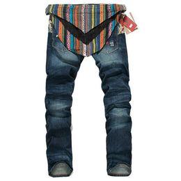 Discount brands blue jeans - Wholesale-New Fashion Hip Hop Jeans Men 100% Cotton Famous Brand Designer Denim Joggers With Coattail Detachable Jeans B