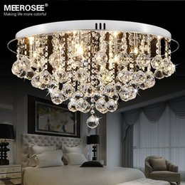 Round Crystal Ceiling Light Fitting G Surfase Mounted Lustres De Cristal Crystal Lighting For Hallway Lamparas De Techo Home