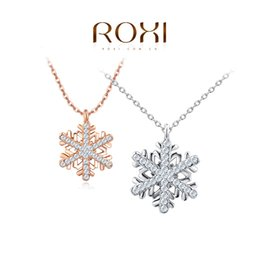 Discount snowflake pendants white gold 2018 snowflake pendants discount snowflake pendants white gold roxi jewelry necklace for women rose gold color statement elegant snowflake aloadofball Image collections