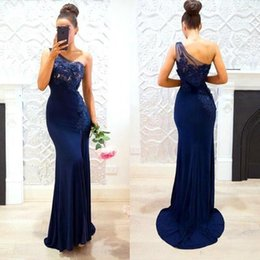 Barato Vestidos Novia Um Ombro-2018 Modest Prom Dresses Navy Blue One Shoulder Mermaid Lace Sleeveless Applique Evening Vestidos Vestidos De Novia BA6996