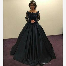 Barato Vestidos Pretos Da Princesa-2018 Graceful Black Princess Evening Dresses Manga comprida Sheer Lace Beaded Appliques Scoop Ruched Ball Gown Party Vestidos Formal Prom Dresses