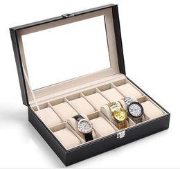 Glass Black Display Cases Canada - NEW 12-Grid Glass Watch Box Large Mens Black Pu Leather Display Glass Top Jewelry Case Organizer Storage Box